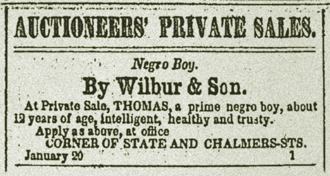 Auctioneers' Private Sales Negro Boy By Wilbur & Son Thomas, prime nego boy, 12 years of age