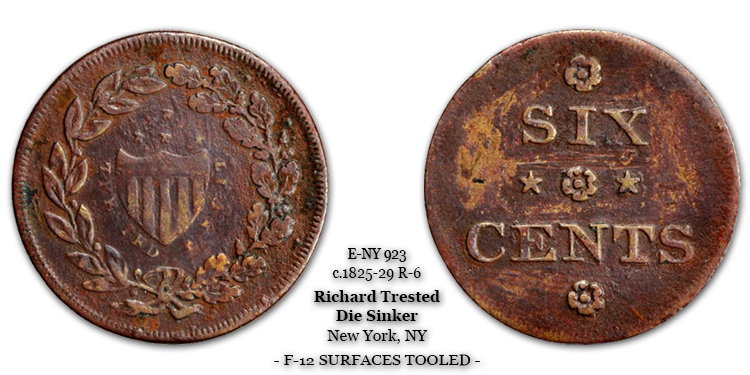 Rulau E-NY-923 Richard Trested Six Cents