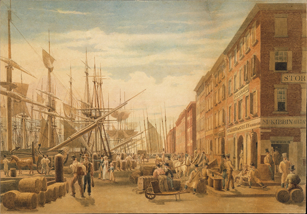 View of South Street, from Maiden Lane, New York City William James Bennett (American, London 1787–1844 New York)
