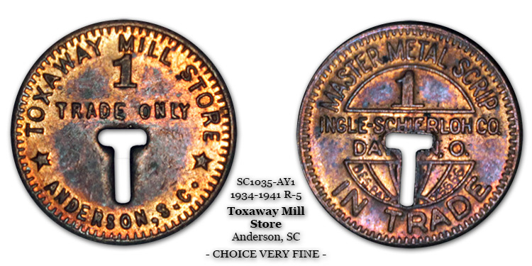 SC1035-AY1 Toxaway Mill Store Scrip