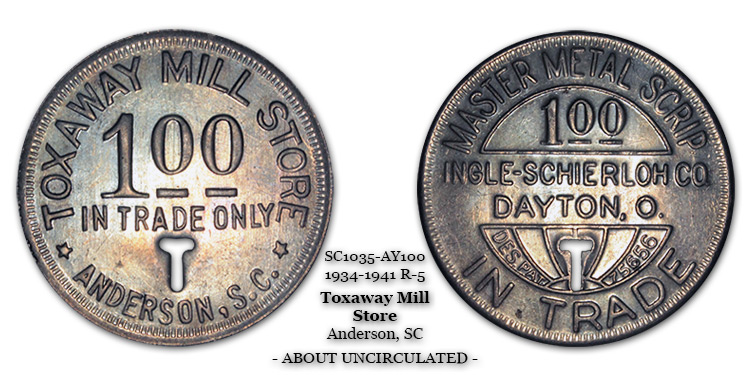 SC1035-AY100 Toxaway Mill Store Scrip