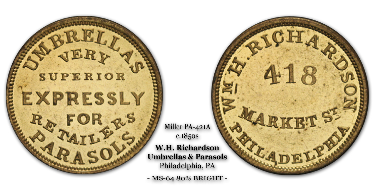 Miller Pa-421A circa 1858 Wm. H. Richardson 418 Market St  Umbrellas Very Superior Expressly for Retailers Parasols