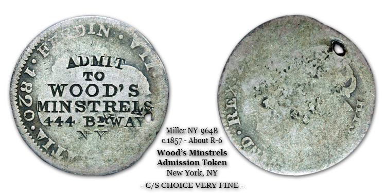 Miller NY-964B c.1857 Wood's Minstrels counterstamped token struck atop an 1820 2-reale host.