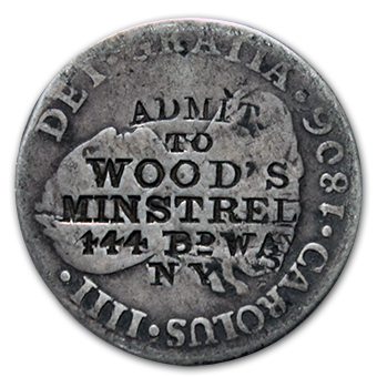 Admit to Wood's Minstrels 444 BDWay Miller N.Y. NY-964B