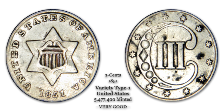 1851 3-Cent Piece United States Silver