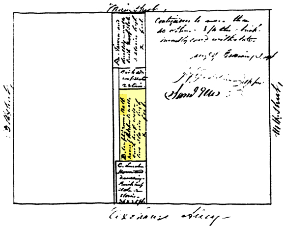 Sketch of City Block Containing Beck's Public Baths (1851 Fire insurance Policy)