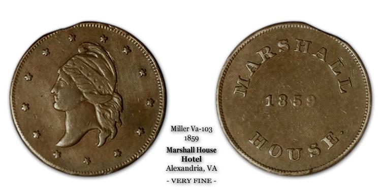 Miller VA-103 Marshall House Hotel Token 1859
