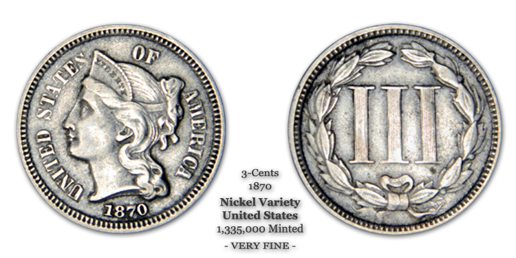 1870 3-Cent Piece United States Nickel