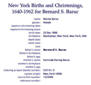 New York Births and Christenings for Bernard S Baruc. Marita Baruc 23 December 1888 Gertrude Hartog Baruc