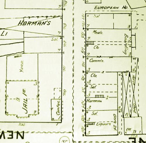 1891 Street Map John Burns Saloon 111 South Augusta Street, Staunton Virginia