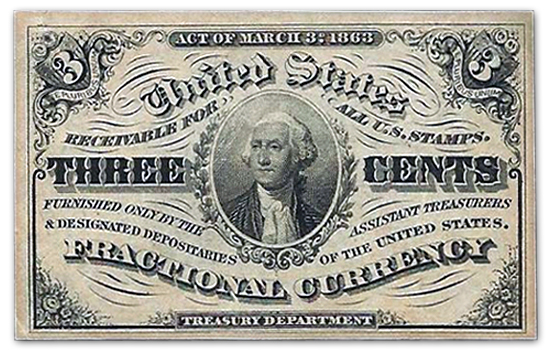 3-Cent Fractional Note United States