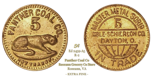 Panther Coal Company Token Edkins VA2459-A5 5-cents