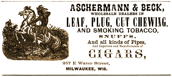 Advertisement for Aschermann's Tobaccos and Cigars, with an early partner