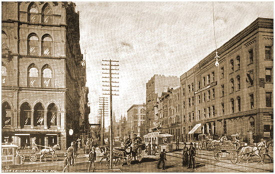 """Looking North on Broadway, From Wisconsin Street,"" engraving by John Marr"