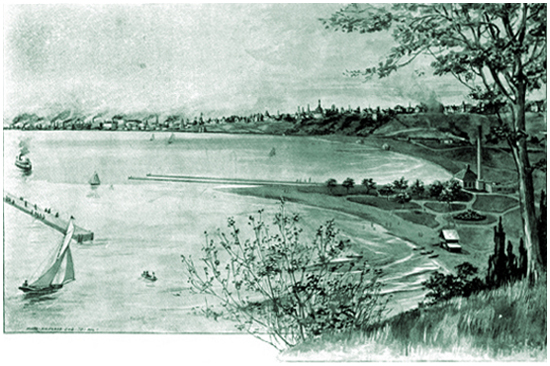 """Milwaukee Bay from North Point,"" engraving by John Marr"