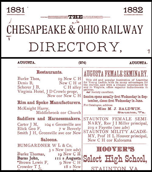 John Burns Burns, John Saloon Dime Chesapeak & Ohio Railway Directory 1881 1882