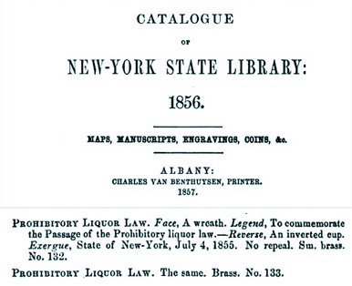 New York Temperance Token - Catalogue of the New York State Library