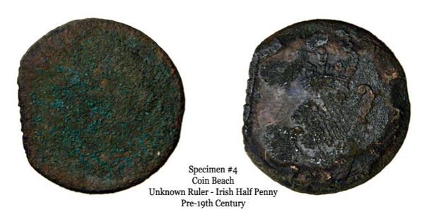 Specimen 4 can be diagnosed by the reverse's harp and strings. The rightmost date can be distinguished by the appearance of an 8 and 2 to the right of the harp's bottom. Given the specimen's diameter, it is a George II or III Irish half penny. It is plausible that it is a George III half penny, given that regal Irish half pennies were struck in 1782. That said, it is unclear definitively whether the specimen is regal, evasion, or a contemporary counterfeit.