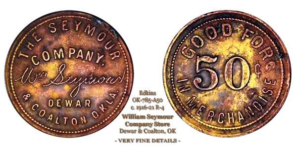 Dewar & Coalton OK Edkins OK-785-A50 50-cents token
