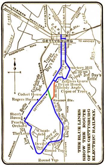 Gettysburg Electric Railway Token Photograph Route Map