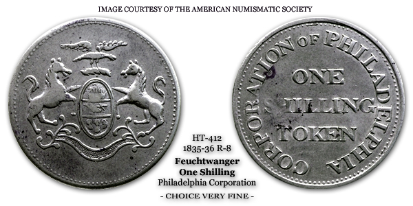 Corporation of Philadelphia HT-412 One Schilling Lewis Feuchtwanger