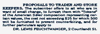 Lewis Feuchtwanger Newspaper Advertisement Tokens