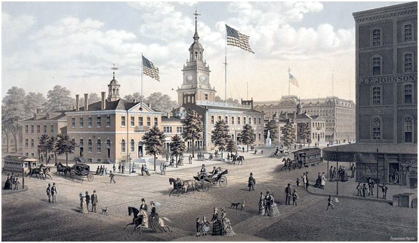 Horse and Carriage Street Scene, Outside Independence Hall, Philadelphia 1876
