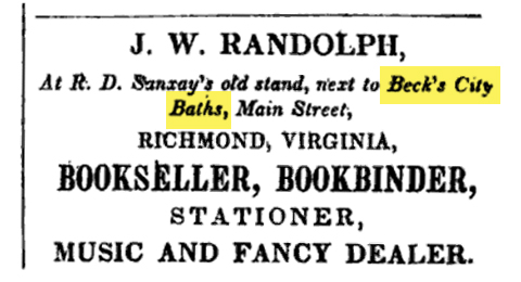 Advertisement Mentioning Beck's City Baths, 1841