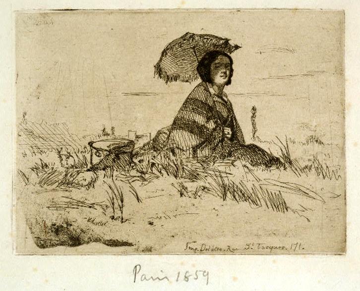 En Plein Soleil, James McNeill Whistler, 1858, Library Congress Woman Parasol Paris 1859 FP-XIX-W576, no 15