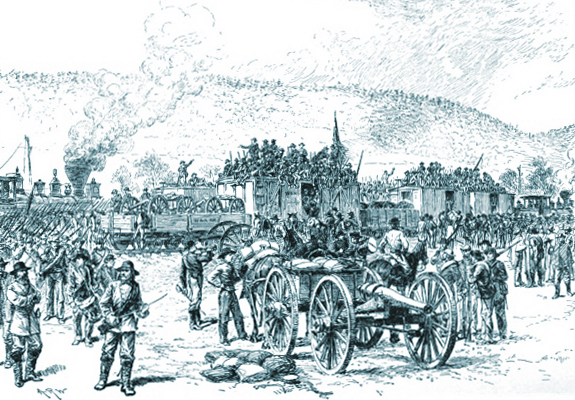 Longstreet's Soldiers Debarking from the Trains Below Rengold on the Western & Atlantic Rail Road