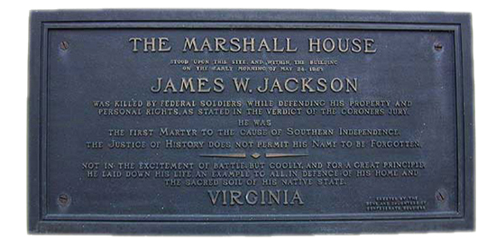 Historical Plaque Marshall House Alexandria Virginia