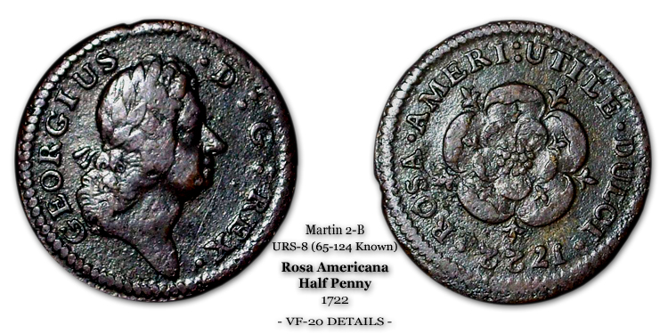 1722 Rosa Americana Halfpenny Martin 2-B