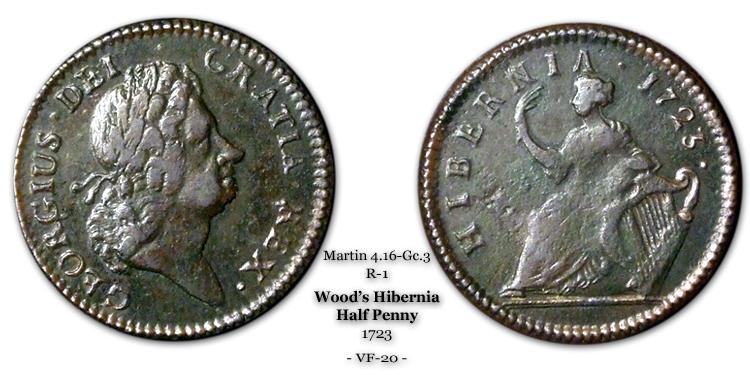 1723 Wood's Hibernia Halfpenny - Martin 4.16-Gc.3