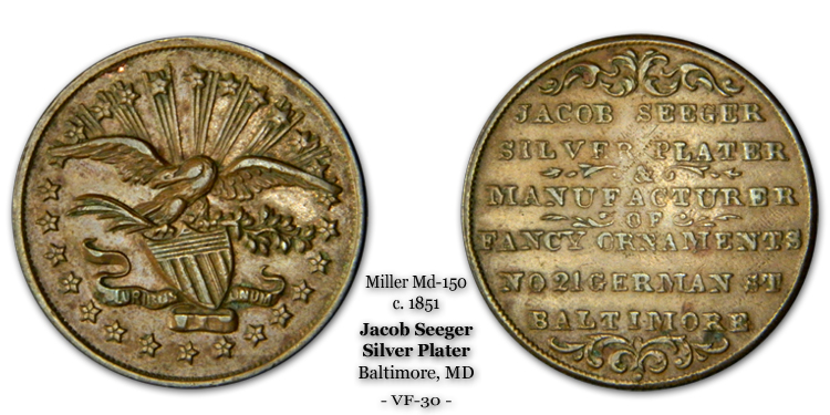 Miller MD-150 Jacob Seeger c.1851 Baltimore Silver Plater Fine Copper
