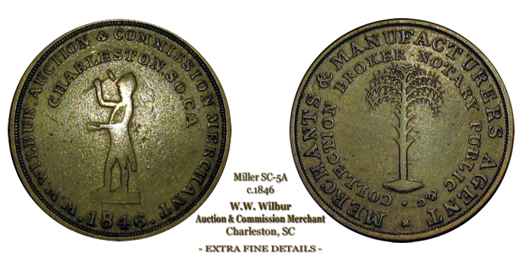 WW Wilbur Token Charleston South Carolina Miller SC-5A