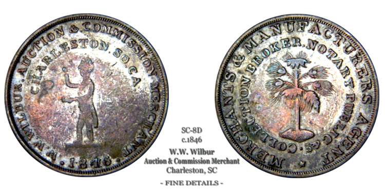 SC-8D, Obverse-2 (Period), Reverse-B (Bushy Tree), Silvered Brass