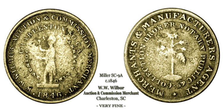 SC-9A, Obverse-3 (Period), Reverse-B (Bushy Tree), Silvered Brass