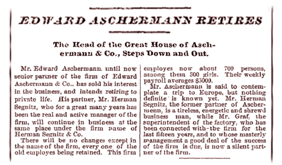 Aschermann Retires Milwaukee Journal July 7 1883