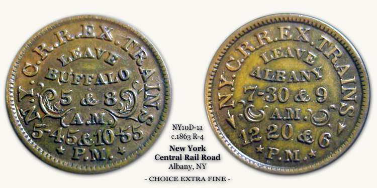 NY10D-1a New York Central Rail Road Civil War Token
