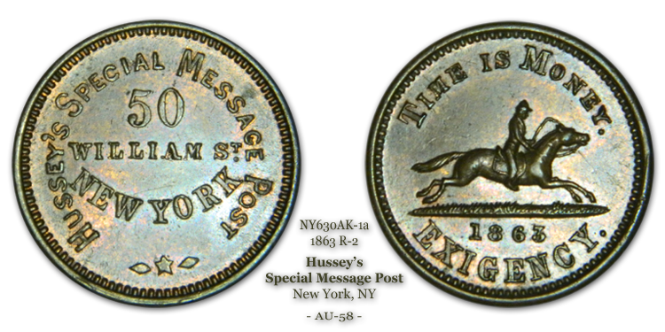 NY630AK-1a, Hussey's Special Message Post, New York City 1863