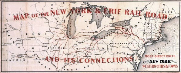 New York Central Rail Road Map 1855