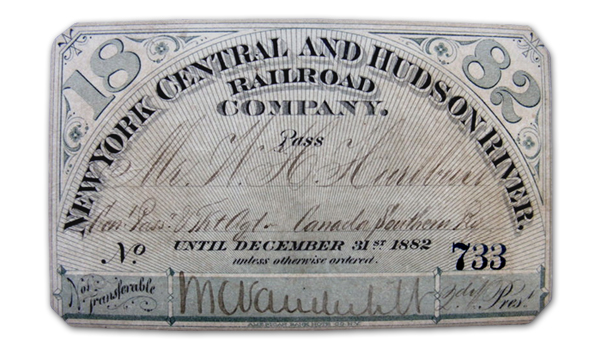 New York Central and Hudson River Railroad Company Pass