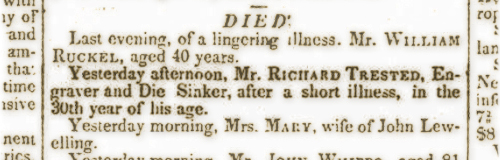 Obituary of Richard Trested, New York Spectator January 1829