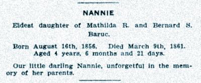 Nannie Baruc - gravestone, eldest daughter of Mathilda R. and Bernard S. Baruc