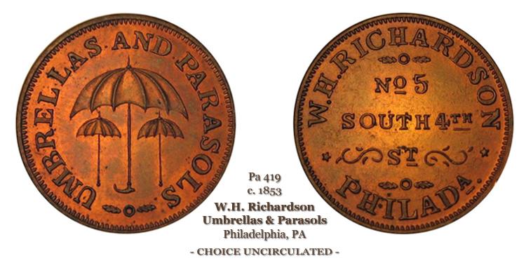Miller Pa-419 circa 1853 W.H. Richardson Umbrellas & Parasols No 5 South 4th St Philadelphia Pa