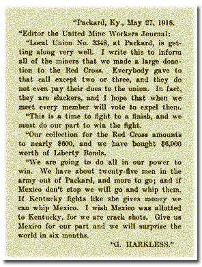 G. Harkless Packard Kentucky Coal Camp Town Letter United Mine Workers Journal