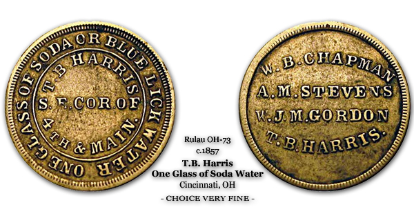Rulau Miller OH-73 c.1857 T.B. Harris Good for One Glass of Soda or Blue Lick Water