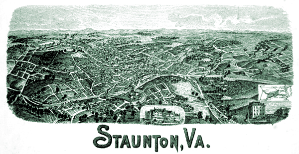 Staunton Virginia Cityscape picture of town 1880s