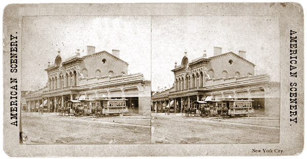 Stereoscope of the 3rd Avenue Railroad Trolley Barn
