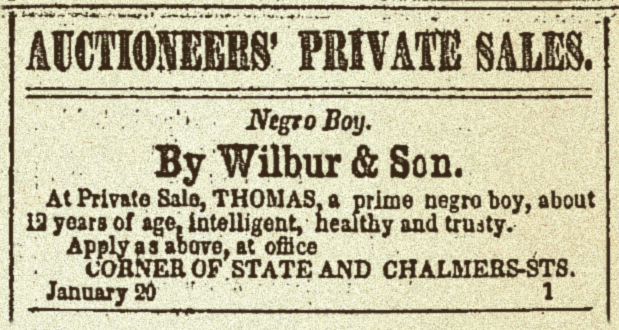 Auctioneers' Private Sales - Negro Boy. - By WW Wilbur & Son